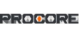 Procore logo in black and orange